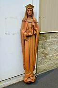 + Nice Older Wood Carved Statue Of St. Hedwig Made In Italy 62 Ht. + Cu759
