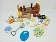 Set Of Antique Baby Toys, Rattles And Rings, Etc. Nice Display For A Baby Shower