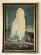 Elmer Berge Antique Native Landscape Oil Painting Yellowstone National Park 1930