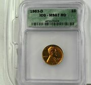 1963 D 1 Cent Lincoln Memorial Reverse. Icg Ms67 Rd Rare Coin In This Grade