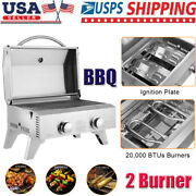 Home 2 Burner Stainless Steel Bbq Tabletop Propane Gas Grill Outdoor Party Us
