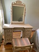 Vintage Solid Wood Vanity With Mirror And With Matching Wood Bench