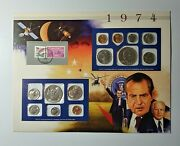 1974 U.s. Mint Sets And Stamp Panel Postal Commemorative Society Collectibles