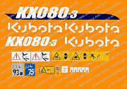 Kubota Kx080-3 Mini Digger Complete Decal Sticker Set With Safety Warning Signs