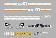 Kubota Kh41 Mini Digger Complete Decal Set With Safety Warning Signs