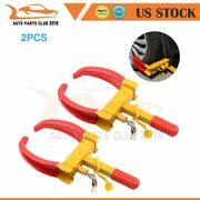 Universal 4keyand2 Pcs Wheel Lock Clamp Boot Claw Car Anti-theft Towing 19×7.5inch