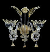 Wall In Murano Glass, Chandelier Wall With Real Leaf Gold Submerged
