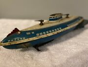 1940and039s Vintage Wolverine Usa Wind Up Tin Lithograph Toy Submarine.no Windup Key.
