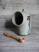 Vellow Somerset David Winkley Open Salt Cellar And Wooden Spoon English Pottery