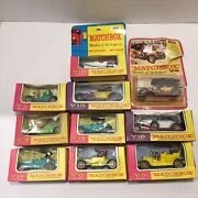 """Vintage Lesney Matchbox """" Models Of Yesteryear - Cars With Boxes - Lot Of 10 - D"""