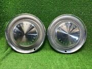 Vintage Set Of 2 1960s Chrysler Hubcaps Wheel Covers Dog Dish Beautiful