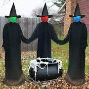 Halloween Decorations Outdoor Large Light Up Holding Hands Screaming Witches