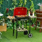 """19"""" Steel Porcelain Portable Outdoor Charcoal Barbecue Barbeque Grill"""