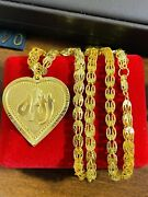 Real 21k Saudi 875 Uae Gold Fine 22andrdquo Mens Womenandrsquos Heart Set Necklace 6mm 19.83g