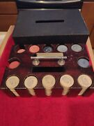 Antique Poker Chip Card Set Wood Carrying Case W/crescent Moon And Owl Clay Chips