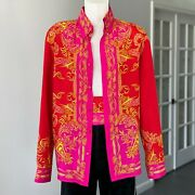 Gianni Versace Silk Shirt Baroque Print Size It 54 Red Fuchsia Gold From Ss 2001