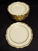 Rare Copeland Spode For And Co. Of New York 12 Ivory And Gold Dinner Plates