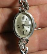 Vintage Womens Bulova 14k Solid White Gold And 8 Diamonds Manual Wind Watch