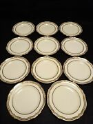 Rare Copeland Spode For And Co. Of New York 11 Ivory And Gold Bread Plates