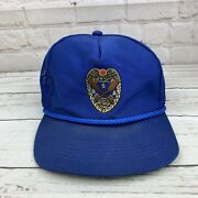 Vintage Boy Cub Scout Canoe Guide Hat Baseball Cap Blue Snap Back Embroidered Z2