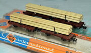 Roco N Brown Strake Double Flat Wagon With Wood Load In Its Box Up To 2 Avail