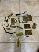 Lot Of Antique /vintage Brass Cabinet Locks And Hinges, Misc Chinese / Oriental