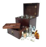 Antique Wooden Mahogany Apothecary Box And Bottles / Medical / Victorian C1880