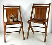 Lot 2 Peerless Childrens Folding Chair Tuck Er' Way Duck And Rubber Wooden Kid Vtg