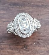 Spectacular John Hardy Hand Signed Autographed Diamond White Topaz Cable Ring 7