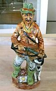 Vino Santo White Wine Figural Decanter Of A Hunting Man W/ Gun And His Dog Italy