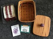 Longaberger 1996 Fathers Day Address Basket With Lid, Protector And Rolodex Cards