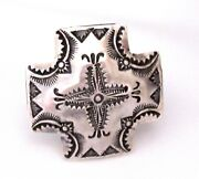 Navajo Vince Platero Concho Cross Adjustable Ring Native American Signed