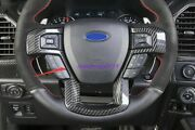 Real Carbon Fiber Steering Wheel Decoration Cover For Ford F-150 F150 2017-2021