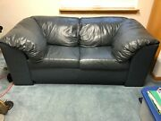 Sofa Couch Used Good Condition Blue Leather