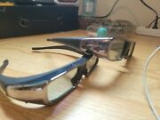 Lot Of 2 Genuine Active 3d Glasses For Sony Tdg-br100 With Springe Hinge Pouch