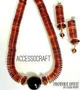 Vtg Accessocraft Nyc Bakelite And Lucite Faux Tortoise Shell Necklace And Earrings