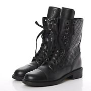 Calfskin Quilted Cap Toe Combat Boots Size 37.5 Us 7.5