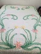 Vtg 40s Chenille Bedspread Mint Green Floral Cutter 101 X 83 As Is