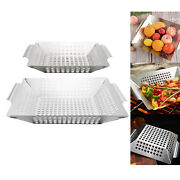 1pc Stainless Steel Bbq Veggie Grill Basket Large Square Non Stick Bbq Accs