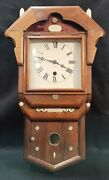 Antique 1800s Hand Crafted Wind-up Pendulum Wall Clock Needs Repair And Has No Key