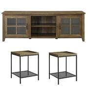 Home Square 3 Piece Set With 70 Tv Stand And 2 Tray Side Tables In Rustic Oak
