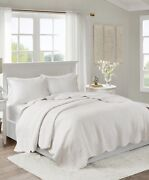 Madison Park 3 Piece Tuscany Cal Or King Coverlet Set White, Scalloped 212 New