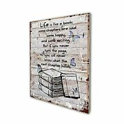 Book Lover Poster Vintage Rustic Farmhouse Wood Wall Art Decor Inspirational ...