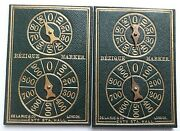 Antique Playing Cards De La Rue And Co Leather Faced Bezique Registers X2 1870