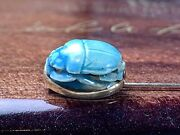Antique 14k Solid Gold Blue Scarab Stick Pin, We've More Jewelry And Watches 4u2c