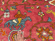 9x12 Red Handmade Wool Rug Tribal Hunting Hand-knotted Big Oriental Handwoven