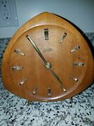 Zentra Teak And Brass Table Clock Germany