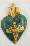 Wood Hanging Heart/sweet Angel Handmade/painted Mexican Folk Art Collectible