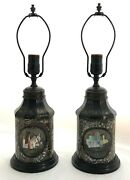 An Early 19th C Pair Of Black Tole Tea Caddy Small Lamps W/mother Of Pearl Inlay