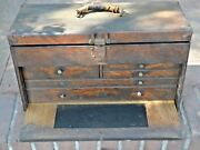 Antique National Tool 5-drawer Machinistandrsquos Tool Boxoak Drawers - Full Tools